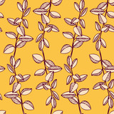 Seamless vector pattern with branches and leaves