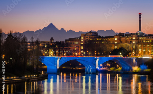 Turin (Torino), river Po and Monviso at sunset