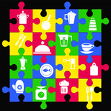 icons kitchen  ware Shape puzzle