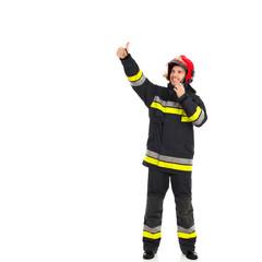 Smiling fireman directing