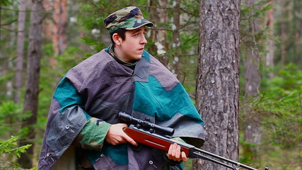 Recruit with optical rifle in the woods episode 2