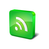 RSS 3d Rounded Corner Green Vector Icon Button