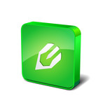 Pencil 3d Rounded Corner Green Vector Icon Button