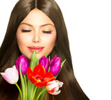 Beauty Woman with Spring Bouquet of Tulip Flowers