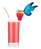 Strawberry smoothie with butterfly
