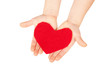 Children hands giving red heart.