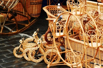 Wicker baskets and toys for sale in market