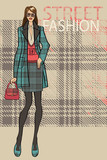 Fashionable girl in skirt and coat.Fashion Illustration