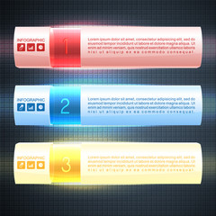 Illuminated infographics options banner