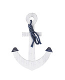 white wooden anchor isolated on a white background