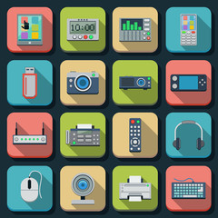 Electronic flat icons vector set