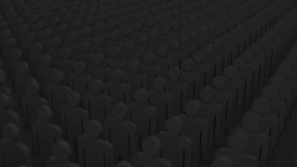 leader in a crowd.  3d animation