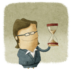 Illustration of Businesswoman with hourglass in hand