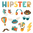 Hipster style elements and objects set.