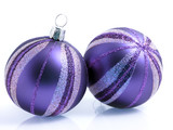 Holiday baubles in purple and silver