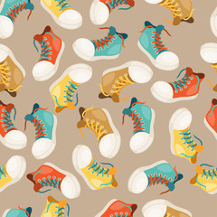 Hipster style seamless pattern with sneakers.