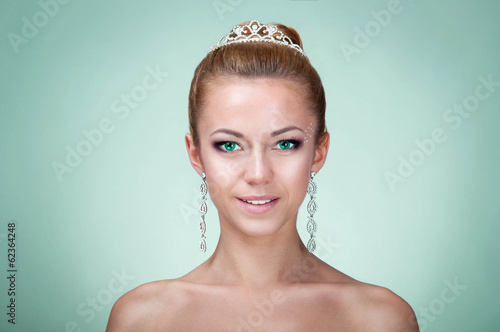 Beautiful woman with green eyes