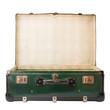 valigia vintage verde aperta