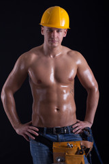 muscular male construction worker