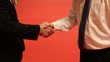 Business partners meet and shake hands on red carpet