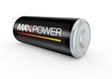 battery 3d illustration with max power on