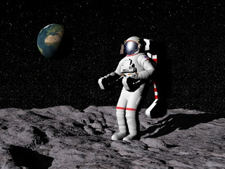 Man on the moon - 3D render