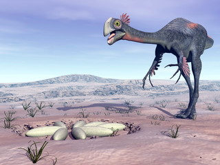 Female gigantoraptor going to its nest - 3D render