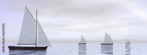 Sailing boats - 3D render