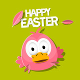 Vector Easter Chicken on Green Background