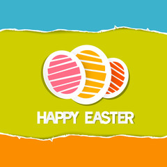 Paper Vector Easter Eggs on Torn Paper Background