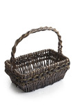 black wooden basket on white background