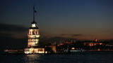 famous place ancient Madien Tower at Istanbul Turkey blue hours