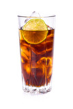 Cola in tall glass with ice cubes and lime over white