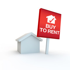 buy to rent red sign on white background