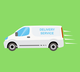 White delivery van on the green background