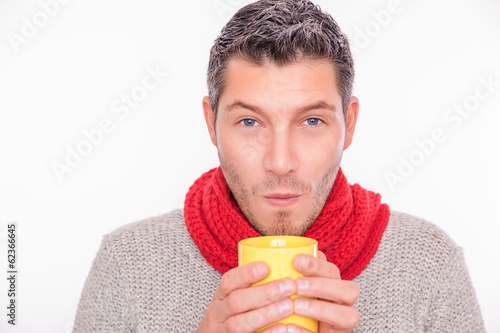 male warming up hot cup