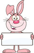 Funny Pink Rabbit Cartoon Character Holding A Banner
