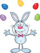Cute Blue Rabbit Cartoon Character Juggling With Easter Eggs