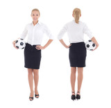 business woman with soccer ball isolated on white, front and bac