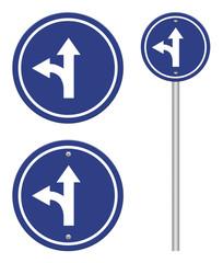 circle blue road signs