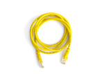 Yellow ethernet cable isolated on white background