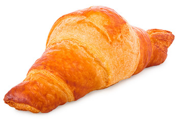 Gold-brown baked croissant in front of a white background