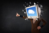 Woman with monitor screen and cloud computing on the screen