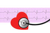 heart and stethoscope over electrocardiogram graph on white back