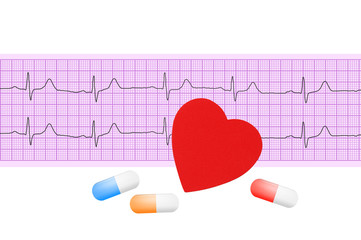 heart and pills over electrocardiogram graph on white background
