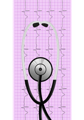 stethoscope over ecg graph