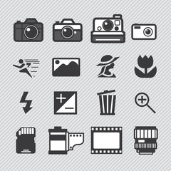 Photography camera lens and accessories set vector icons