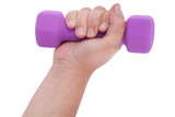 Pink dumbbells in hand (clipping path)