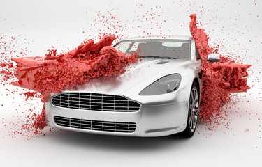 Rote Farbe wird über ein Auto geschüttet