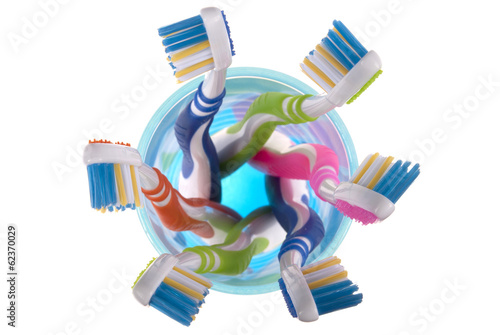 Toothbrushes  in glass (clipping path)